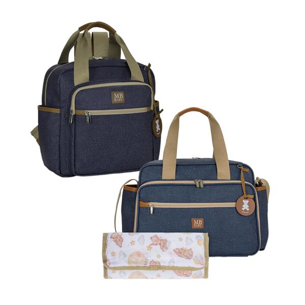 Bolsa maternidade de passeio e Mochila Azul - Kit Coleção Jeans - MB Baby