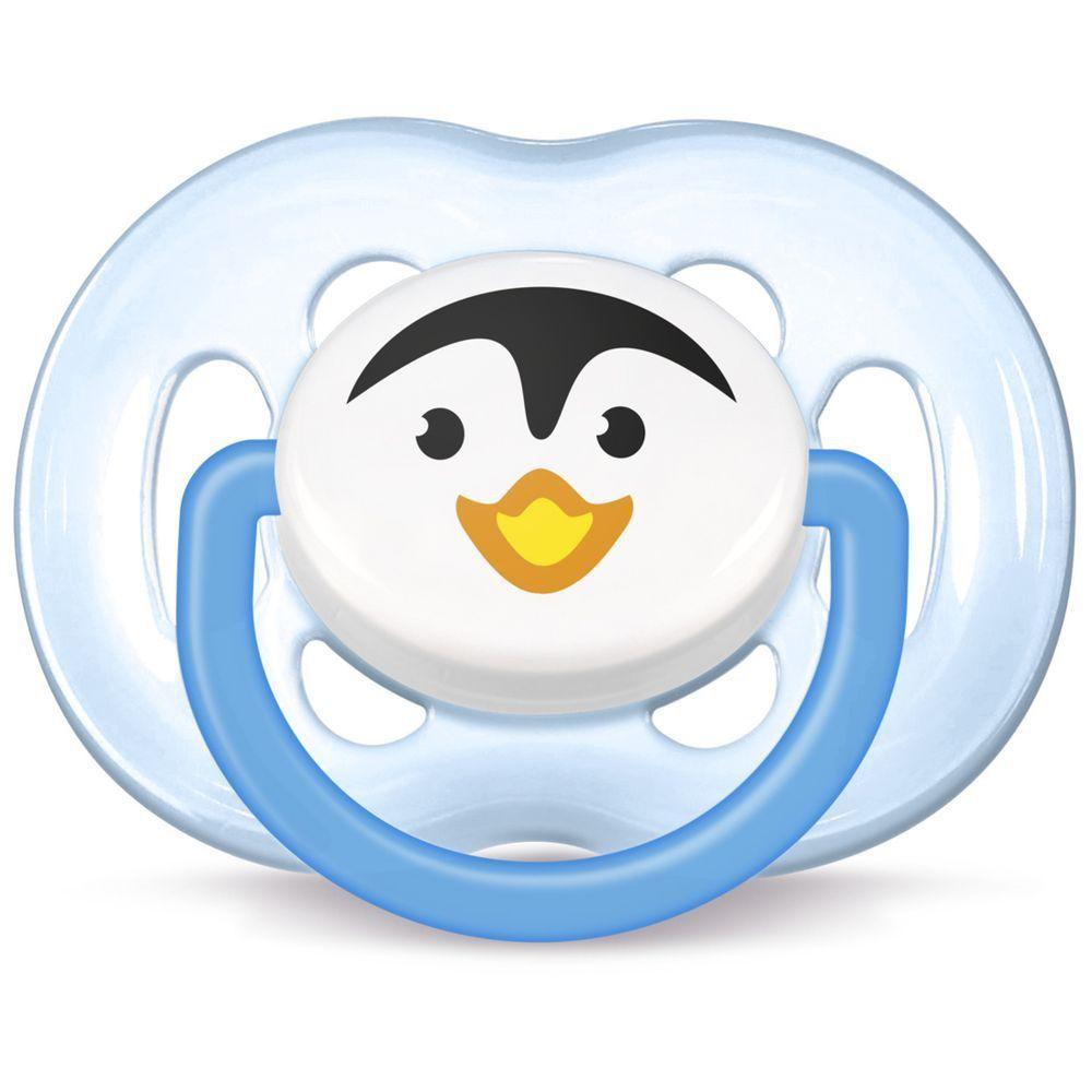 Chupeta Avent Freeflow Pinguim Meninos - 6 a 18 meses - Philips Avent