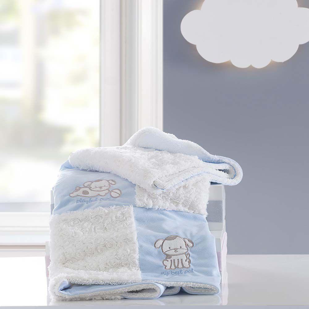 Cobertor Patchwork bordado Yupi Cachorrinho azul
