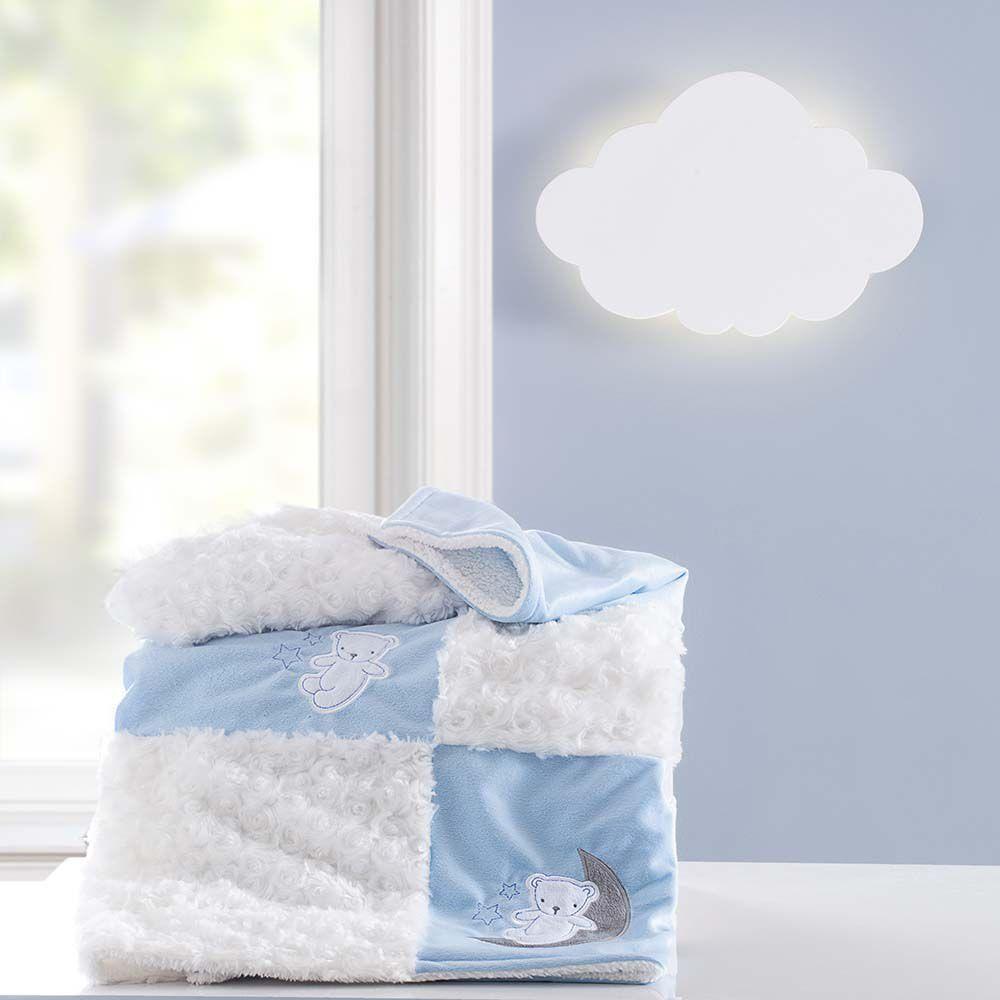 Cobertor Patchwork bordado Yupi lua azul