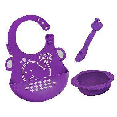 kit alimentação infantil em silicone colher + babador + tigela Baleia - Marcus & Marcus