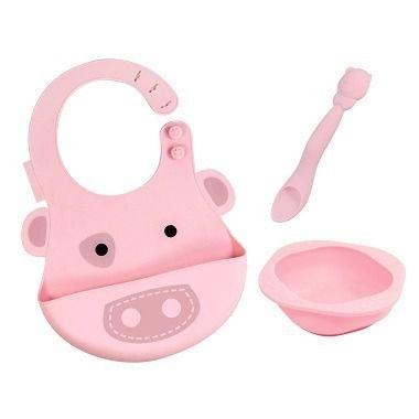 kit alimentação infantil em silicone colher + babador + tigela porquinho - Marcus & Marcus