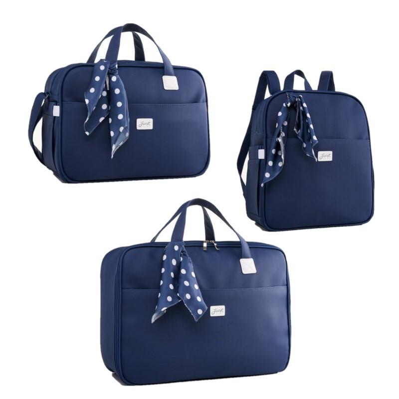 Kit Bolsa com mochila e mala maternidade Candy Azul - Just Baby
