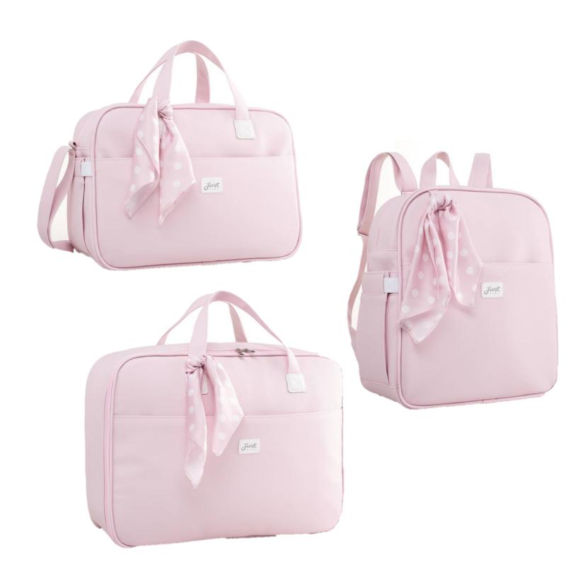 Kit Bolsa com mochila e mala maternidade Candy Rosa - Just Baby