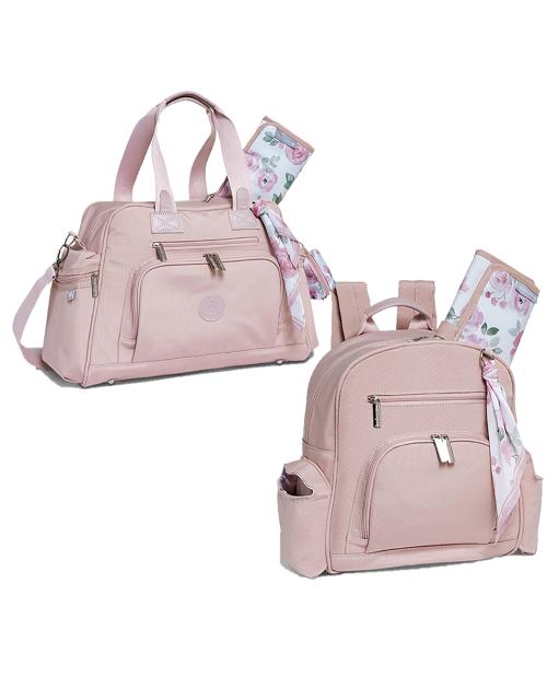 Kit Bolsa e mochila maternidade Flora rosa - Masterbag Baby