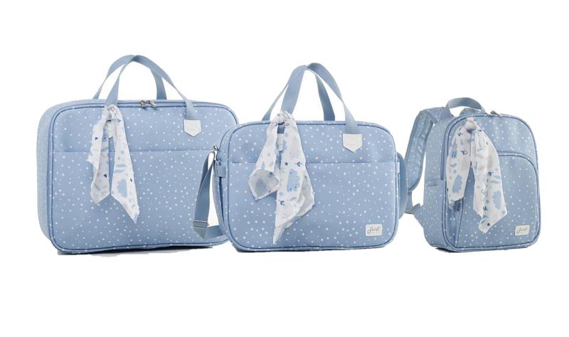 Kit bolsa maternidade com mala e mochila Térmica Azul Bunny - Just Baby