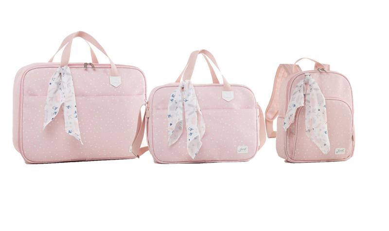 Kit bolsa maternidade com mala e mochila Térmica Rosa Bunny - Just Baby