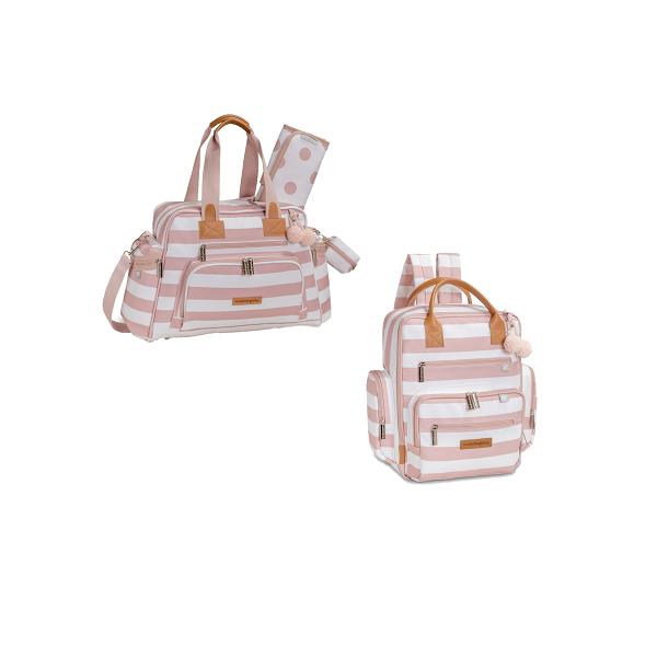 Kit Bolsa maternidade e  mochila Brooklin Rosa - Masterbag Baby