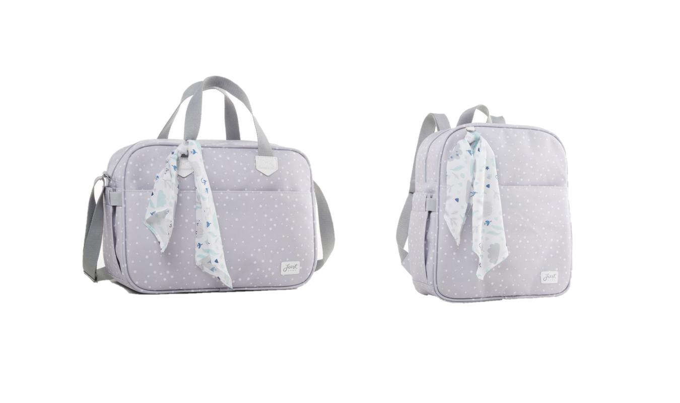 Kit bolsa maternidade e mochila Cinza Bunny - Just Baby