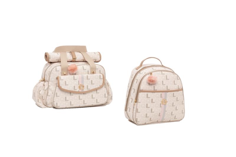 Kit Bolsa maternidade e mochila monograma caramelo - Lequiqui