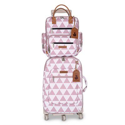 Kit Bolsa maternidade Manhattan Mala de rodinha e Mochila Rosa - Masterbag Baby
