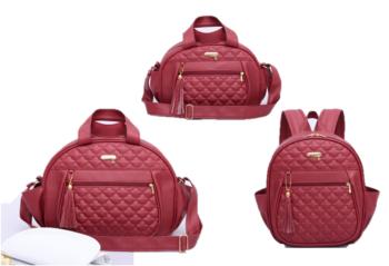 Kit bolsa mochila e frasqueira de maternidade colours vermelha - By Children