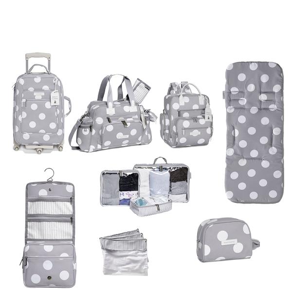 Kit de Bolsa Maternidade com 8 itens Bubble Cinza - Masterbag Baby