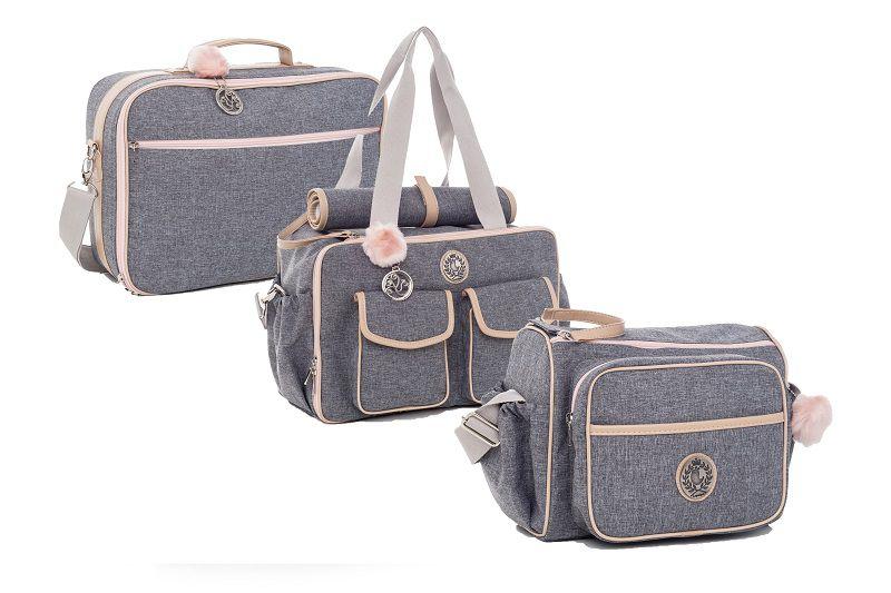 Kit bolsa maternidade Dallas Cinza com rosa 3pcs bolsa, mala e frasqueira - Lequiqui