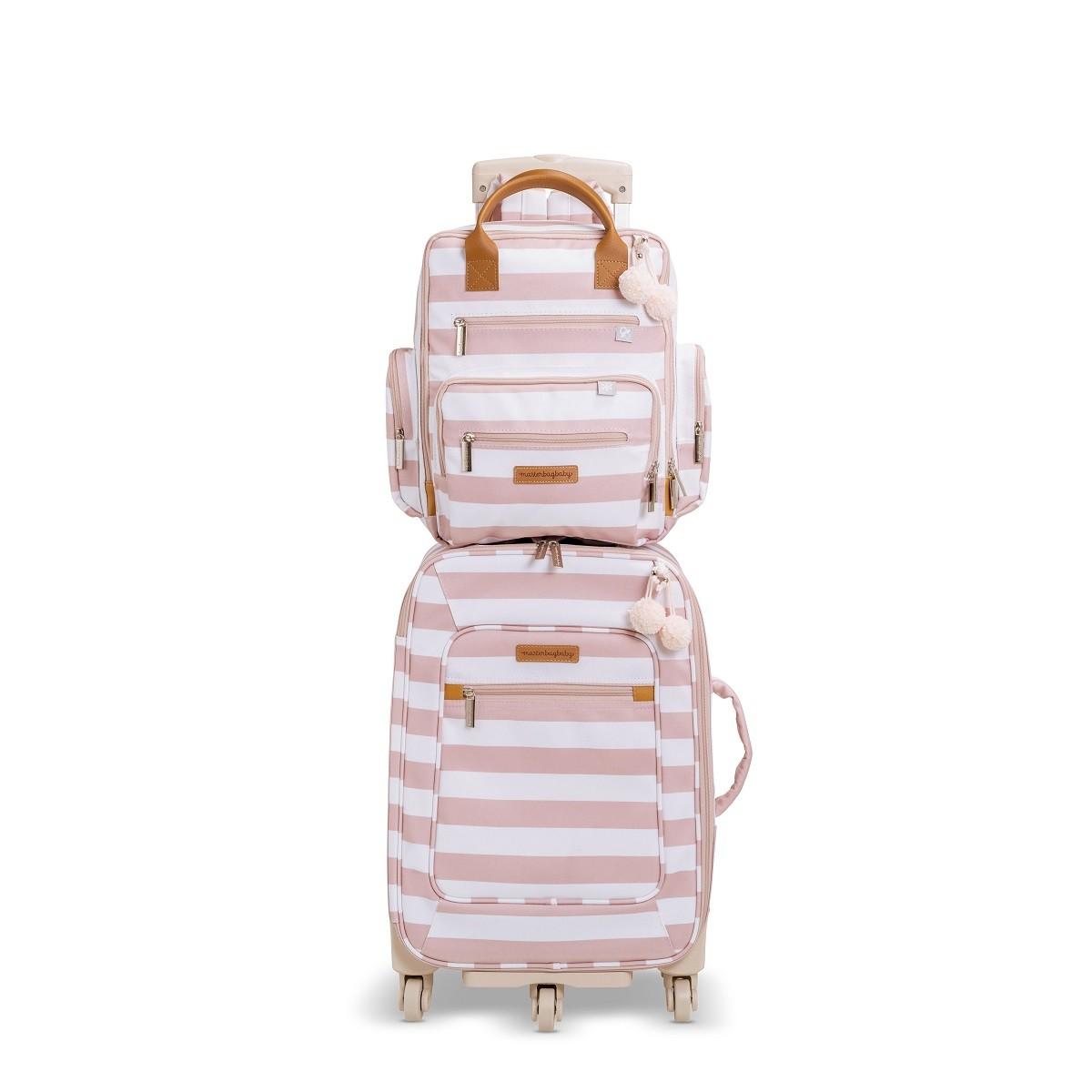 Kit mala de maternidade com rodinha e  mochila Brooklin Rosa - Masterbag Baby
