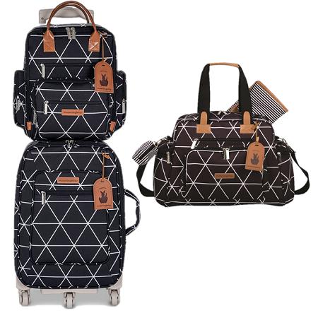 Kit mala de rodinha com bolsa de maternidade e mochila Manhattan - Masterbag Baby