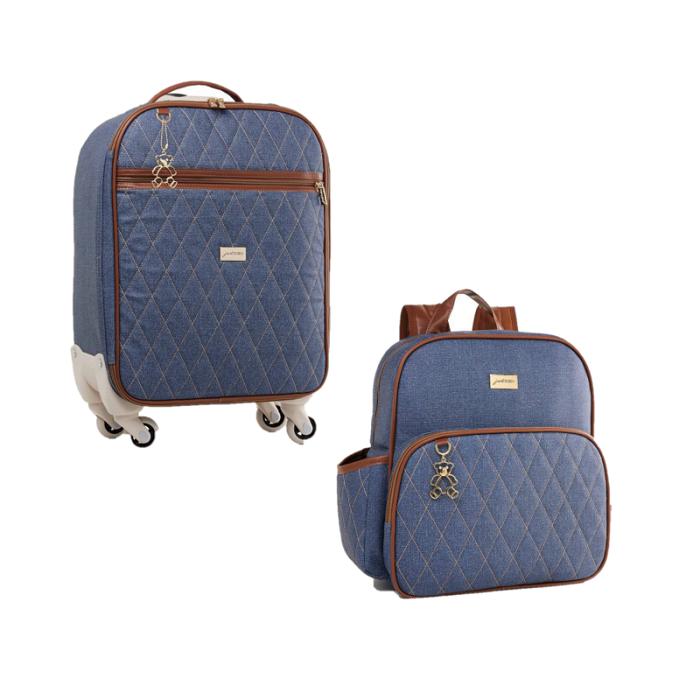 Kit mala de rodinha e mochila Chicago Jeans - Just Baby