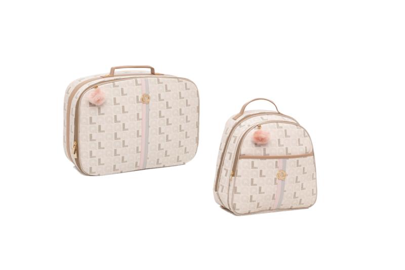 Kit Mala maternidade com mochila monograma caramelo - Lequiqui
