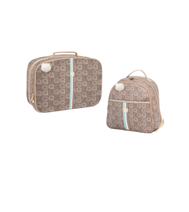 Kit Mala maternidade com mochila monograma Marrom - Lequiqui