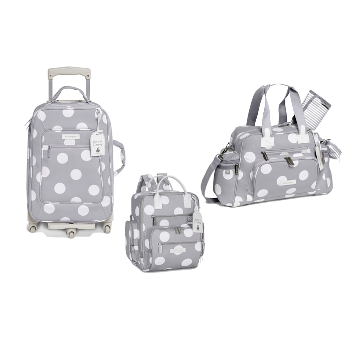 Kit mala maternidade com rodinha, bolsa e mochila Urban Bubble Cinza - Masterbag Baby