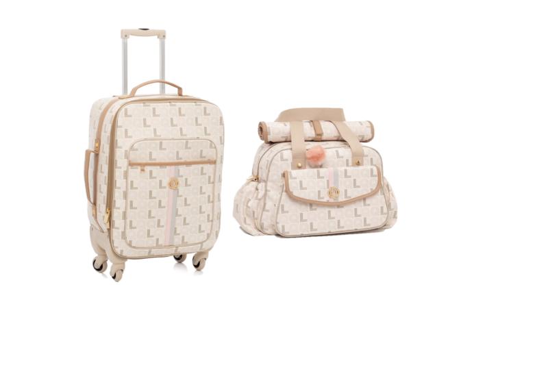 Kit Mala maternidade com rodinha e bolsa monograma caramelo - Lequiqui