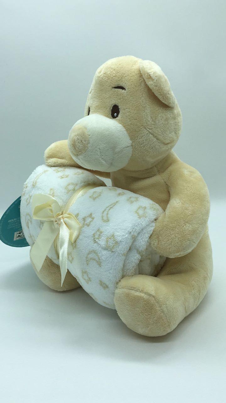 Manta de bebê com bichinho de pelúcia - Urso Bege