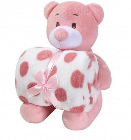 Manta de bebê com bichinho de pelúcia - Urso rosa