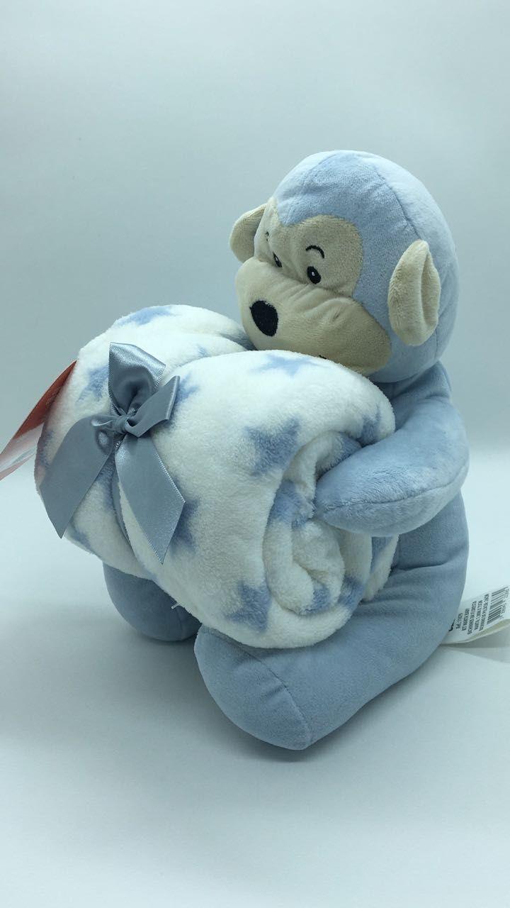 Manta de bebê com bichinho de pelúcia - Macaco Azul