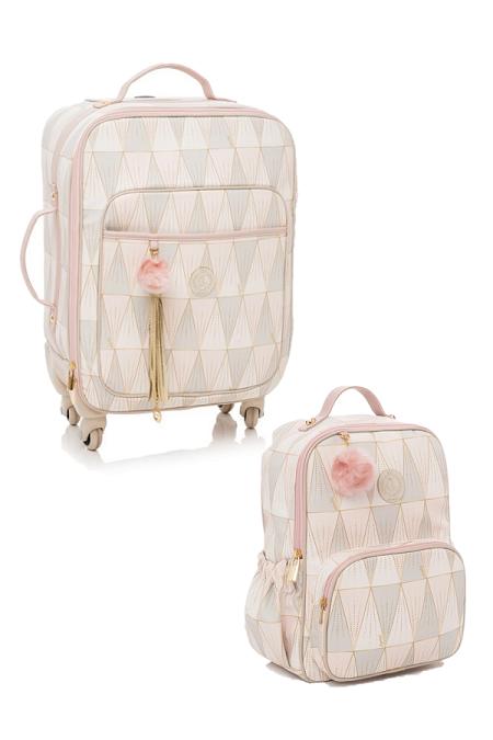 Kit mochila maternidade e Mala de rodinha Luxor rosa - Lequiqui
