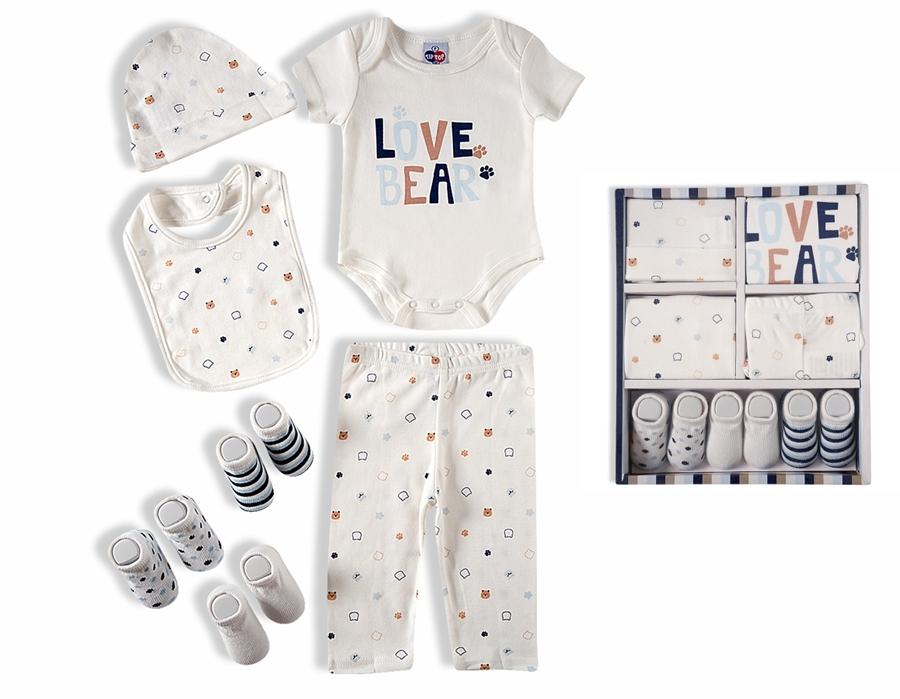Kit presente bebê 7 pçs Suedine 100% algodão - Tip Top