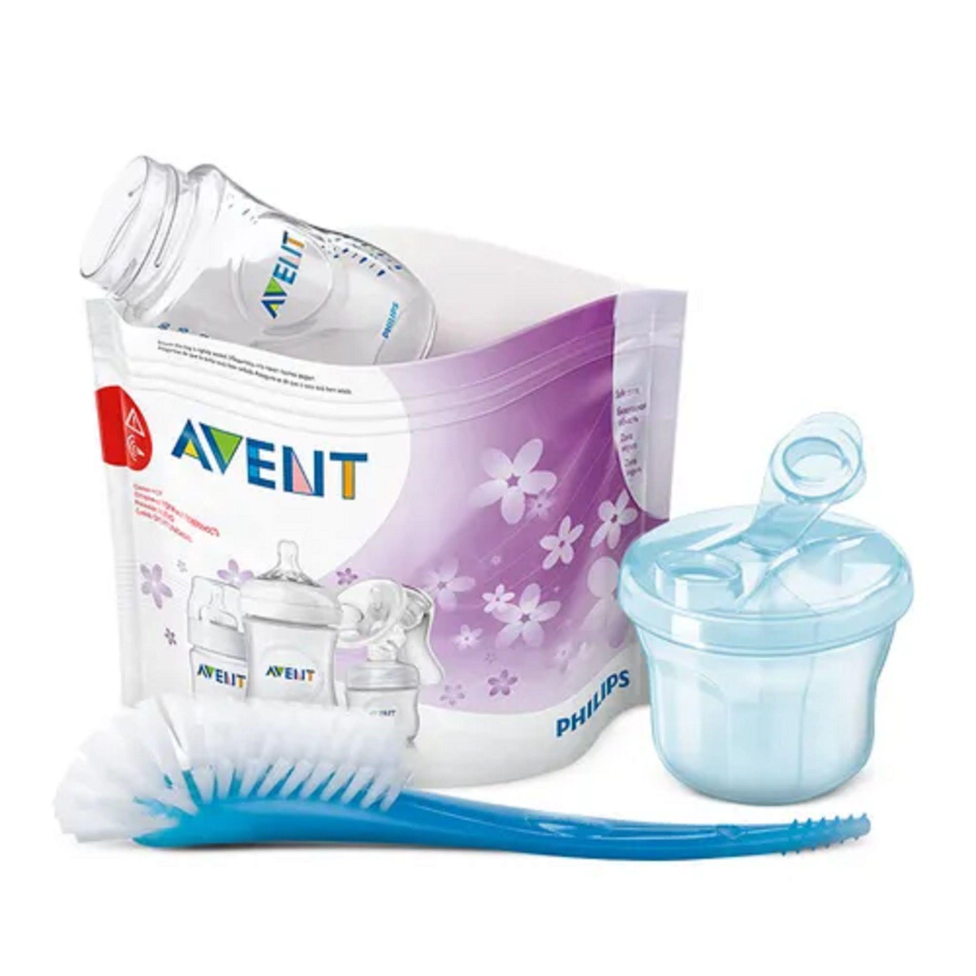 Kit Saco Esterilizador micro-ondas + dosador de leite azul + escova azul - Philips Avent