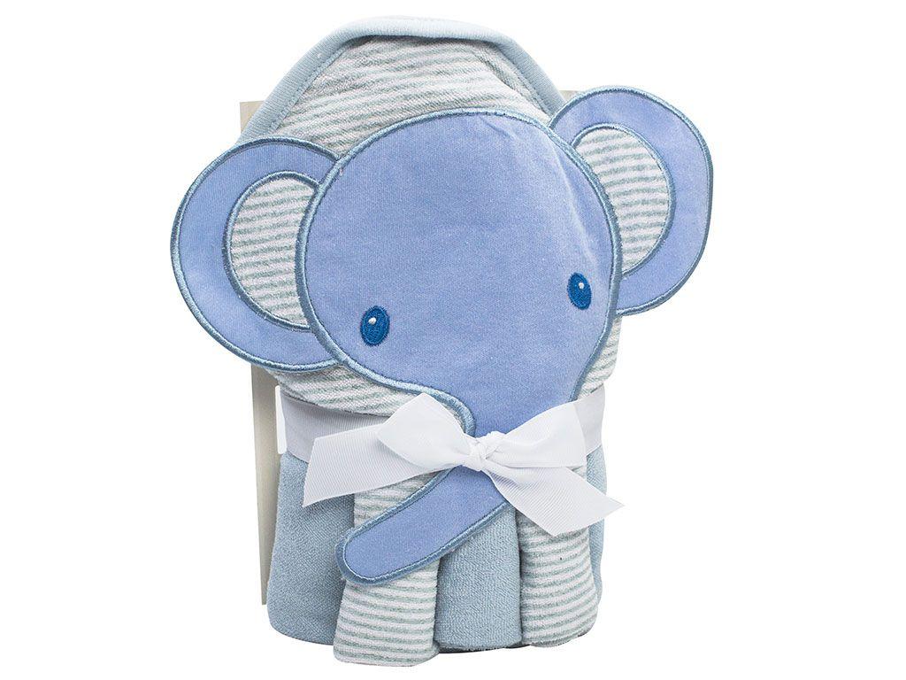 Toalha de banho para bebê com capuz 66x76 com 3 Toalhas de boca Elefante azul