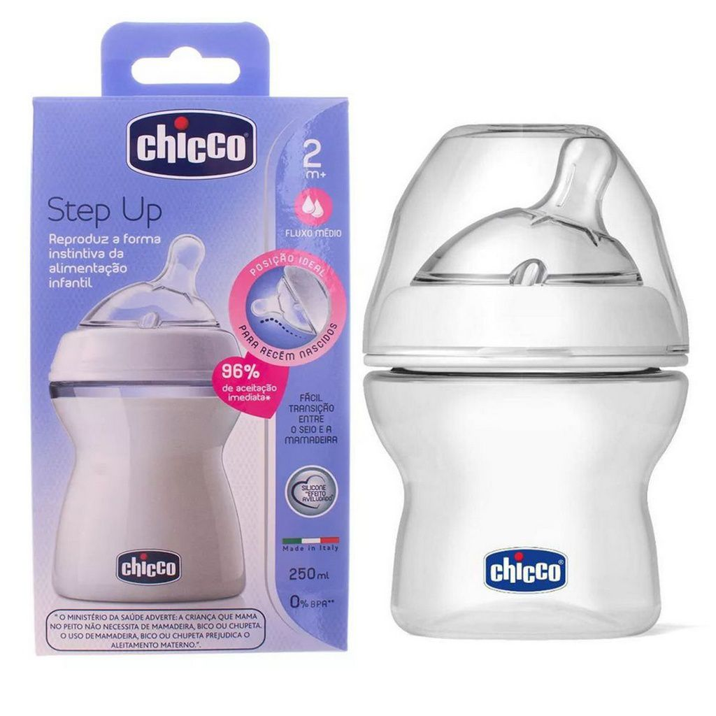 Mamadeira Anti-refluxo Transparente Step Up 250Ml - Chicco