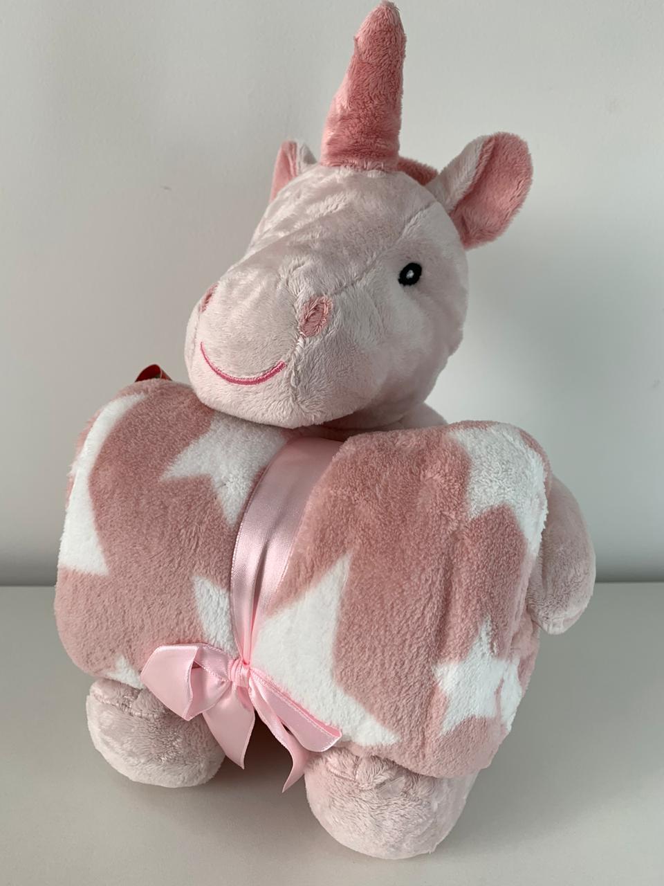 Manta com bichinho de pelúcia - Coleção Floresta Unicórnio rosa