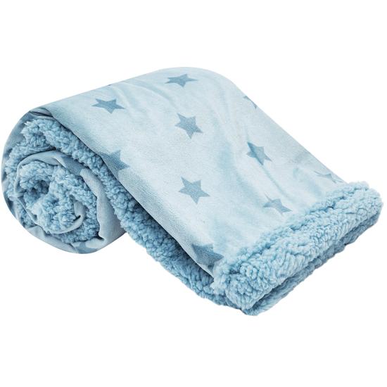 Manta de bebê Dupla face estrelinhas azul - Buba