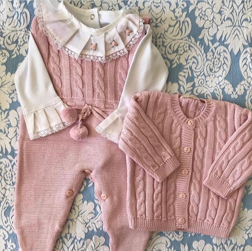 Saída de maternidade rosa kit com 3 pçs