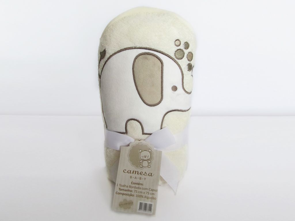 Toalha de banho para bebê com capuz bordada Elefante bege