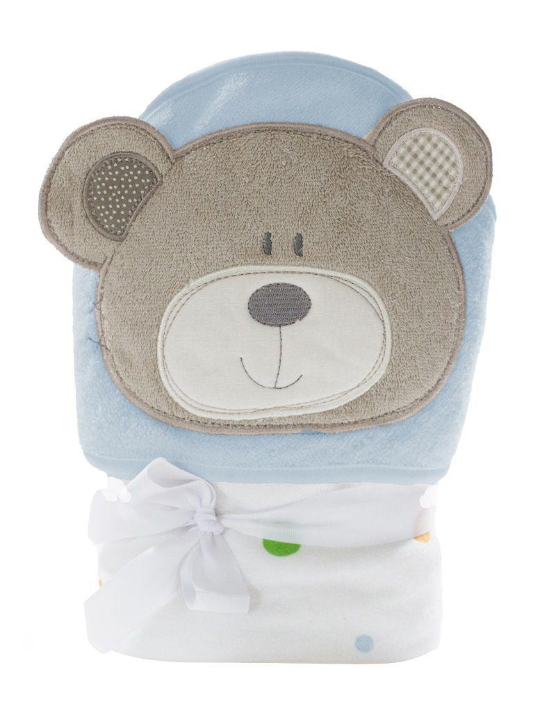 Toalha de banho para bebê conforto com capuz Urso 76cm x 76cm