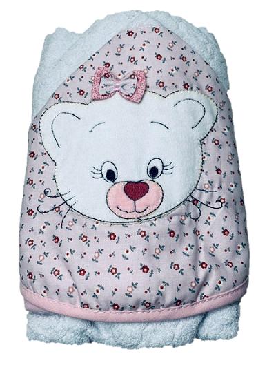 Toalha de banho de bebe forrada com capuz e bordada 70x80 - Gata rosa