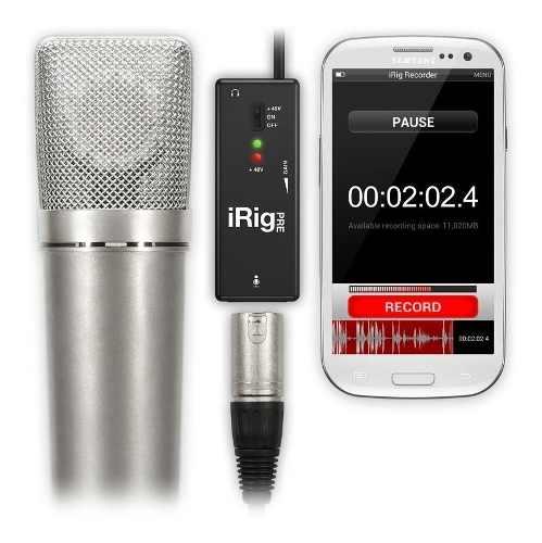 Pré-amplificador e interface de Microfone para uso com Smartphone | Entrada XLR, 48v e saída para fone de ouvido | Ik Multimedia | Irig Pre