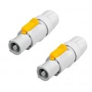1 Par de Powercon Branco 20A p/ cabo Neutrik NAC3FCB