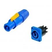 1 Par Powercon Linha + Painel Azul Neutrik NAC3 FCA MPA