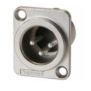 Conector XLR macho de painel para embutir | Corpo de metal e contatos a níquel | Amphenol  | AC3MMDZ
