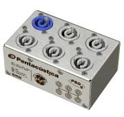 Distribuidor de energia com 1 Entrada Powercon Azul e 5 Saídas Powercon Branco + Garra de fixação | Pentacustica | PSG5PC