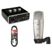 Kit Behringer com Interface UM2, Microfone C1 e Cabo