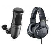 Kit com Microfone condensador AT2020 + Fone de ouvido profissional ATH-M 20X