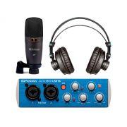 Kit Home Estúdio com interface de 2 canais, microfone e fone | Conexão XLR e P10 em 96 kHz/24 bits | Presonus |Audiobox 96 Studio