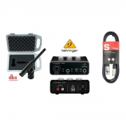 Kit Interface Behringer UM2, DBX Microfone RTA-M e Cabo