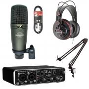 Kit Studio Interface UMC202HD, Microfone HO8, Fone HD681
