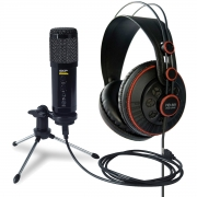 Microfone Condensador USB PODCAST400U + Fone HD681